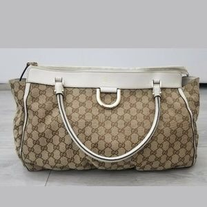 Gucci GG D Cold Canvas/Leather Tote Beige/White